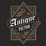 Antique border western frame vintage label hand drawn typography. Retro vector illustration Stock Photo