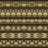 Antique borders in yellow color on the dark brown background. Set collections of old greek ornaments. Antique borders in yellow color on the dark brown Stock Photo