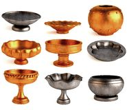 9 antique bowls Royalty Free Stock Images