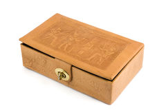 Antique box. Antique leather box isolated on white Stock Image