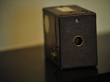 Antique Box Camera. With leather covering Stock Photography