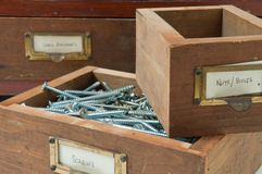 Antique Box of Screws Stock Photos