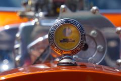 Boyce Motometer Radiator Hood Ornament. Antique Boyce Motometer radiator cap hood ornament on display during Classic Auto Show at Fenders` on Front Street annual stock photos