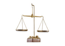 Antique brass balance scale on pedestal with empty pans. And weights on white included clipping path royalty free stock images
