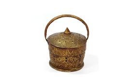 Antique brass basket. On white  background Royalty Free Stock Image