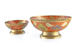 Antique brass bowl Royalty Free Stock Images