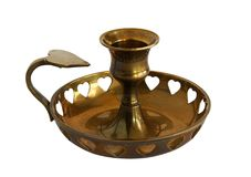 Antique brass candle holder Royalty Free Stock Photos