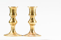 Antique brass candle stick on white background Royalty Free Stock Photos