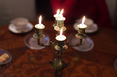 Antique brass candlestick Stock Photo
