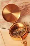 Antique brass compass Royalty Free Stock Photos