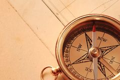 Antique brass compass Stock Photo