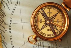 Antique brass compass Royalty Free Stock Image