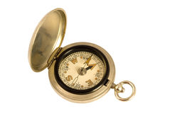 Antique Brass Compass. Isolated on white with a clipping path royalty free stock image
