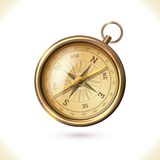 Antique brass compass. Antique brass metal compass isolated on white background vector illustration vector illustration