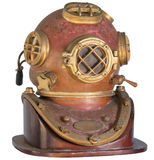 Antique, Brass Diving Helmet on a White Background royalty free stock image