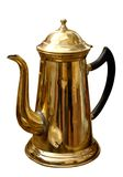 Antique brass kettle. Antique rustic brassr kettle isolated on white background with clipping path royalty free stock photos