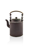Antique brass kettle. On a white background Royalty Free Stock Image