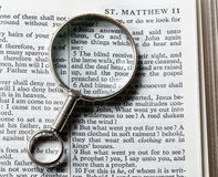 Antique brass magnifying glass Stock Images