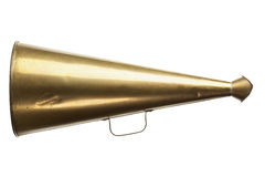Antique brass megaphone isolated with clipping path Stock Image