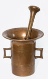 Antique brass mortar. On the white background Royalty Free Stock Images