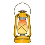 Antique Brass Old Kerosene Lamp isolated on a white background. Colored line art. Retro design. Stock Image