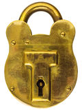 Antique brass padlock isolated on white Stock Photos