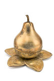Antique brass pear-shaped pot Royalty Free Stock Image