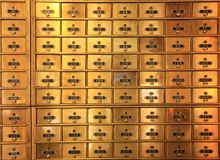 Antique Brass Postal Mail Boxes or Bank Safe Deposit Boxes royalty free stock images