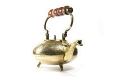 Antique Brass Tea Pot or Kettle on White Background Stock Photo