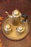 Antique brass teapot set. Set of antique brass teapot Stock Image