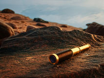 Antique brass telescope Stock Photo