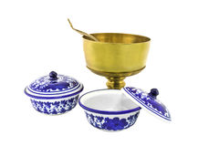 Antique brazen rice bowl and ceramic bowl isolated Royalty Free Stock Images