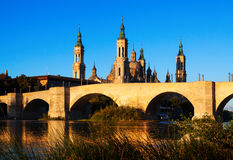 Antique  bridge and  Cathedral in  Zaragoza Stock Image