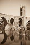 Antique bridge over  river Royalty Free Stock Photos