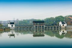 Antique bridges-Nanchang Mei Lake Scenic Area. Nanchang Mei Lake scenic spot in detail, refined garden, curved Pavilion, platform and other types of gardens royalty free stock image