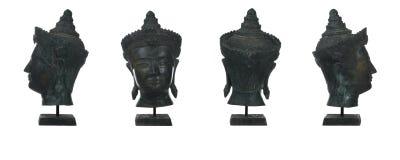 Antique bronze buddha head. Thai art  on white Stock Photography