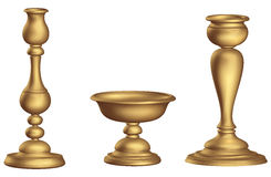 Antique bronze candleholder 3d Golden ecclesiastical cup and torch vintage vector illustration