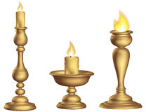 Antique bronze candleholder 3d Golden ecclesiastical cup and torch vintage stock illustration