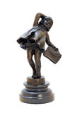 Antique bronze figurine of the girl with bag. Royalty Free Stock Photography