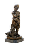 Antique bronze figurine of the girl with three dogs Stock Photo