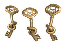 Antique bronze key with knot Royalty Free Stock Photography