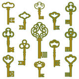 Antique bronze keys with patina decor Stock Image