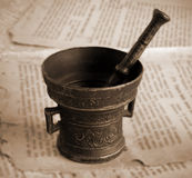 Antique bronze mortar Stock Images