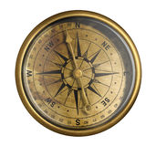 Antique bronze nautical compass isolated on white Stock Photography