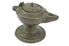 Antique bronze oil lamp i Royalty Free Stock Images