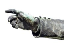 Antique bronze single hand. On white background Stock Photography