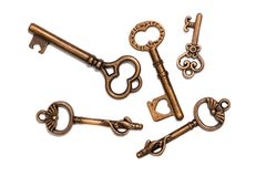 Antique Bronze Skeleton Padlock Key stock photos