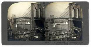 Antique Brooklyn Bridge Stereograph stock photography