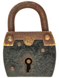 Antique brown with black metal padlock isolated on white. Antique brown with black metal padlock isolated on a white background royalty free stock photography