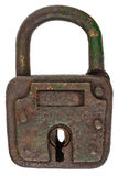Antique brown rusted metal padlock isolated on white. Antique brown rusted metal padlock isolated on a white background royalty free stock photography